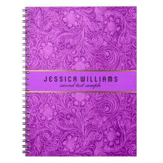 レザールックピンクの花パターンスエード ノートブック