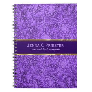 レザールック紫色の花パターンスエード ノートブック