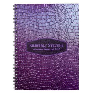 レザールック紫色の調子のスネークスキンののど ノートブック