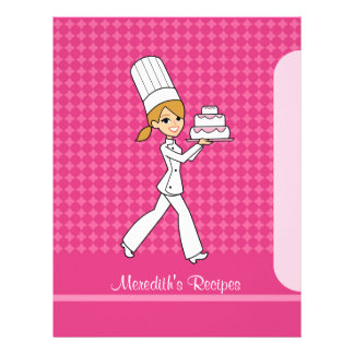 レシピのブロンドの女性版を指示するパン屋の女の子のページ レターヘッド