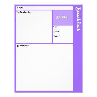 レシピのページ(薄紫の) チラシ
