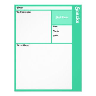 レシピのページ(軽いティール(緑がかった色)) チラシ