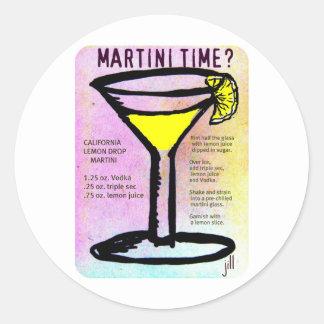 レシピbのマルティーニの時間レモンドロップのパステル調のプリント ラウンドシール