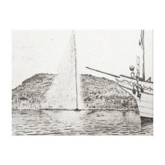 レジャー用ボート2011年のジュネーブの噴水そして弓 キャンバスプリント