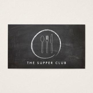 レストランのためのフォークのスプーンのナイフの黒板のロゴ 名刺