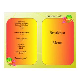 レストランの供給、サンプルメニュー、Sunnyside 21.6cm X 27.9cm チラシ