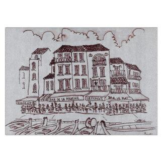 レストランの水辺地帯| Cassis、フランス カッティングボード