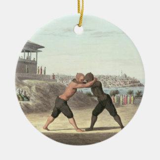 レスリングの試合、コンスタンチノープル(w/c紙で) セラミックオーナメント