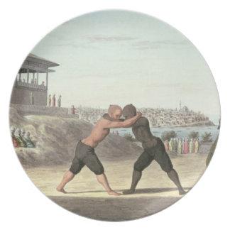 レスリングの試合、コンスタンチノープル(w/c紙で) プレート