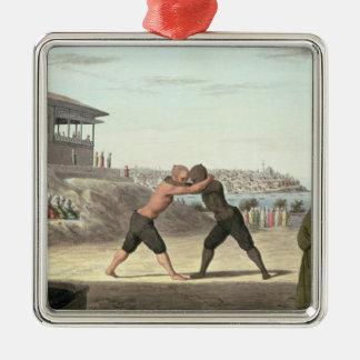 レスリングの試合、コンスタンチノープル(w/c紙で) メタルオーナメント