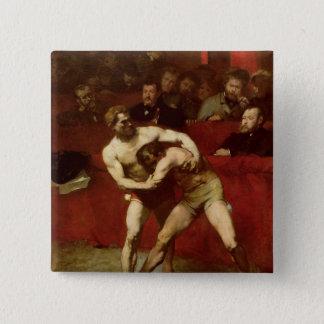 レスリング選手1875年 5.1CM 正方形バッジ