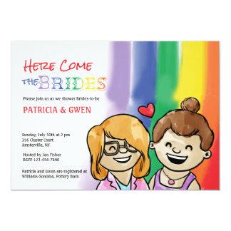 レズビアンのシャワーの招待状2つの幸せなGalsの カード