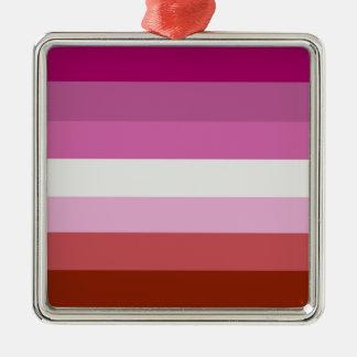 レズビアンのプライドは縞で飾ります メタルオーナメント