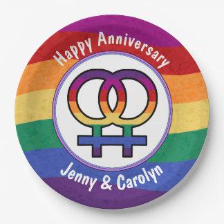 レズビアンの女性の性の記号の虹 ペーパープレート