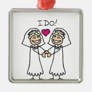 レズビアンの結婚式のブライダル メタルオーナメント