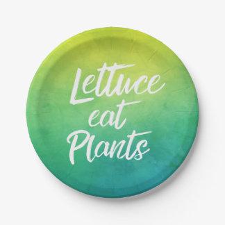 レタスは植物のベジタリアンおよびビーガンのユーモアを食べます ペーパープレート