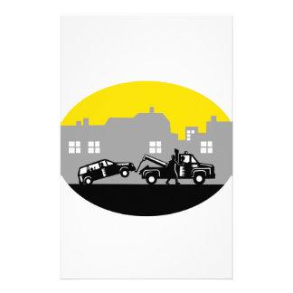 レッカー車の牽引車の建物の楕円形の木版画 便箋