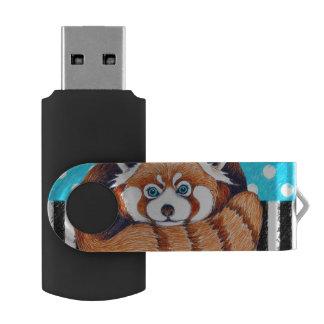 レッサーパンダくまの青の水玉模様 USBフラッシュドライブ