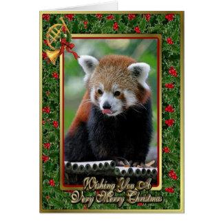 レッサーパンダ中国のな動物のブランクのクリスマスカード カード