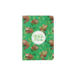レッサーパンダ及びタケの葉パターン及びモノグラム パスポートカバー