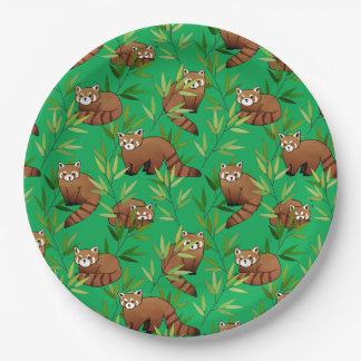 レッサーパンダ及びタケの葉パターン ペーパープレート