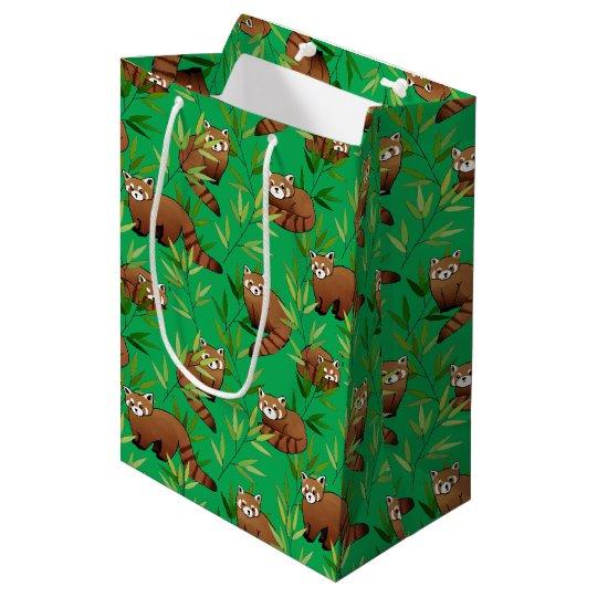 レッサーパンダ及びタケの葉パターン ミディアムペーパーバッグ