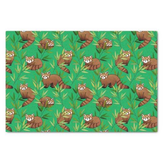 レッサーパンダ及びタケの葉パターン 薄葉紙