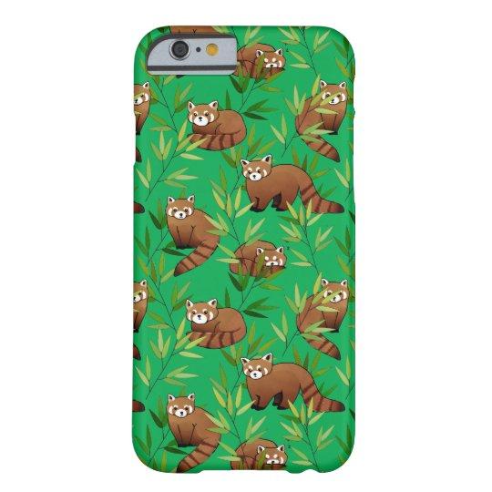 レッサーパンダ及びタケの葉パターン iPhone 6 ベアリーゼアケース
