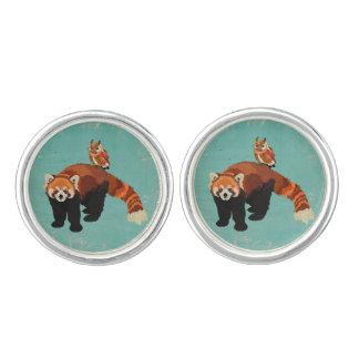 レッサーパンダ及びフクロウのカフスボタン カフスボタン