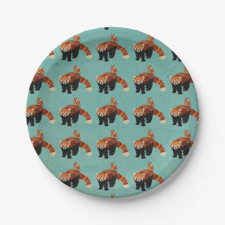 レッサーパンダ及びフクロウの紙皿 ペーパープレート