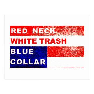 レッドネックのプアホワイトのブルーカラーの郵便はがき ポストカード