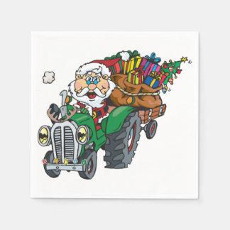 レッドネックサンタは彼のトラクターの町に来ています スタンダードカクテルナプキン