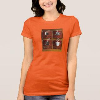 レディースはコーヒーワイシャツのデザインを目覚めます Tシャツ