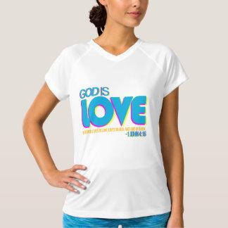 レディーススポーツTekによって合われる性能のV首のTシャツ Tシャツ