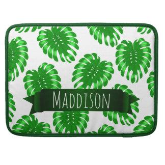 レディース名前入りな10代のな女の子の緑の熱帯葉 MacBook PROスリーブ