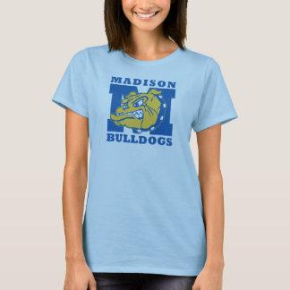 レディース淡いブルーの基本的なマディソンのブルドッグのTシャツ- Tシャツ