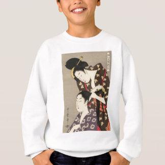 レディース理髪のUtamaro Yuyudo Ukiyo-eの芸術 スウェットシャツ