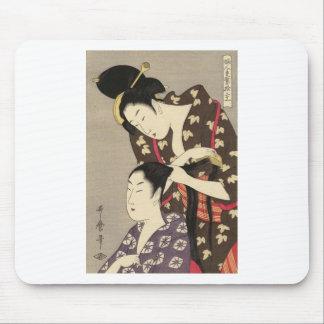 レディース理髪のUtamaro Yuyudo Ukiyo-eの芸術 マウスパッド