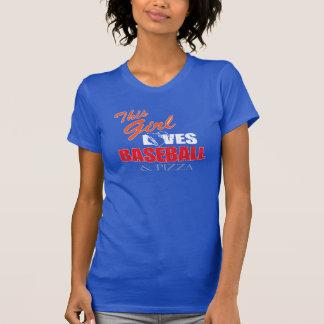 レディース野球のTシャツ-野球およびピザ Tシャツ