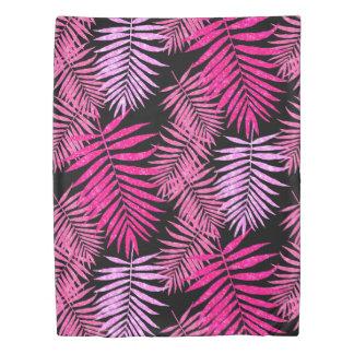 レディース10代のな女の子のピンクのヤシの木の葉の模造のなグリッター 掛け布団カバー