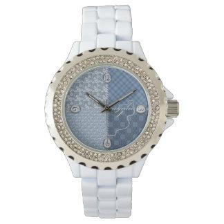 レディース・ウォッチ-キルトかパッチまたは青-針か糸、 腕時計