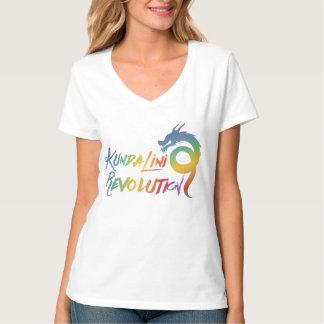レディースV首の虹のドラゴンのKundaliniの改革 Tシャツ