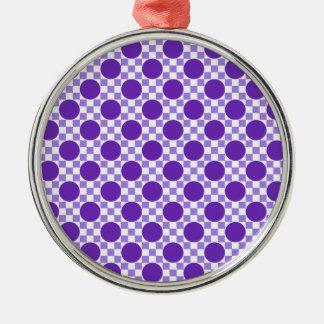 レトロすみれ色の紫色の点および軽いインディゴの正方形 メタルオーナメント
