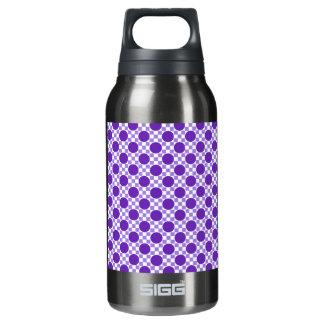 レトロすみれ色の紫色の点および軽いインディゴの正方形 断熱ウォーターボトル