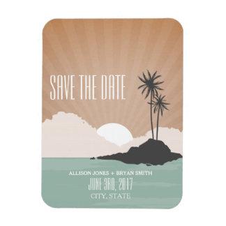 レトロによってインスパイアビーチ結婚式の保存日付の磁石 長方形磁石