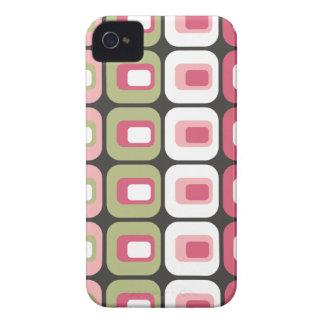 レトロによって円形にされる長方形のピンクの緑の灰色の皮 Case-Mate iPhone 4 ケース