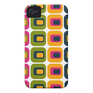 レトロによって円形にされる長方形のピンクの緑の黄色の青 Case-Mate iPhone 4 ケース
