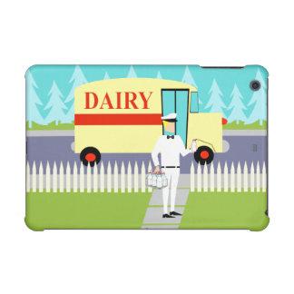 レトロのいなか町の牛乳配達人のiPad Miniケース