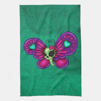 レトロのおもしろいのゾンビの蝶 キッチンタオル