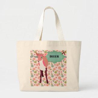 レトロのかわいらしいピンクのシカの花のバッグ ラージトートバッグ